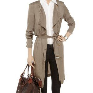 Helmut Lang Khaki Satin Twill Trench Coat Dress S